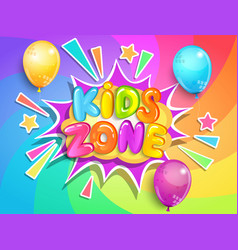 kids zone banner on rainbow spiral background vector image