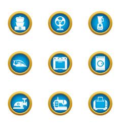 kitchenware icons set flat style vector image