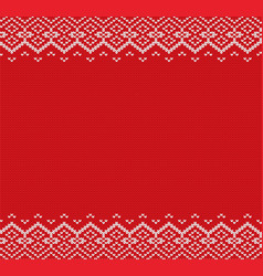 knitted christmas background red and white vector image