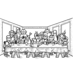 Last supper robots sketch vector