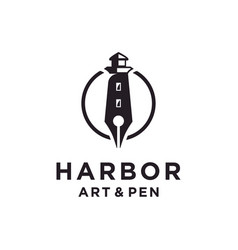 lighthouse and pen logo design inspiration vector image