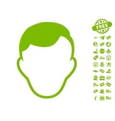 Man Face Template Icon With Free Bonus vector