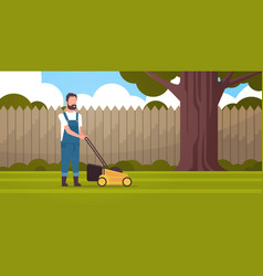man gardener cutting green grass with lawn mover vector image