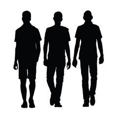 Man walking three black silhouette vector