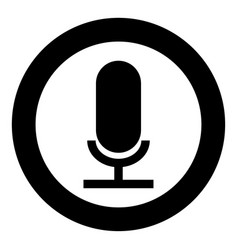 microphone the black color icon in circle or round vector image