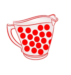 Milk jug with red dots part of porcelain vector