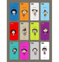 Mobile phone cover back 12 funny girls for your vector