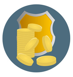 money protection icon shield and coins business vector image
