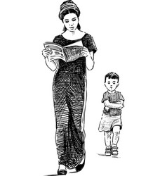 Mother and son on a walk vector