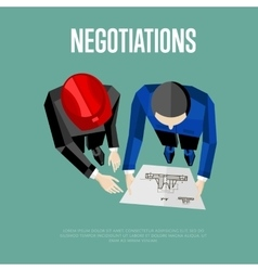 Negotiation banner Top view of engineer builders vector image