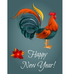 New Year greeting card with red rooster vector image