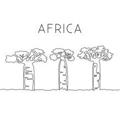 one continuous line drawing big baobab tree vector image