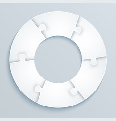 Parts of paper puzzles in the form of a circle vector