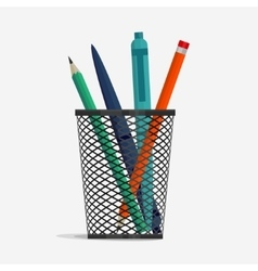 Pen and pencil in holder basket vector