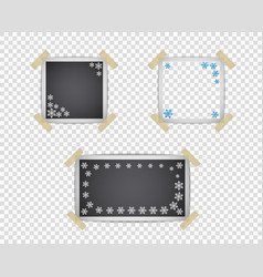 photo frame templates with shadow and snowflake vector image