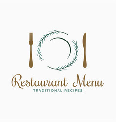 plate logo with fork and knife and rosemary vector image