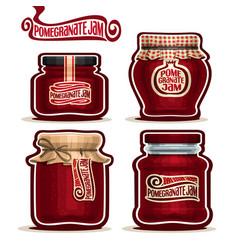 pomegranate jam in jars vector image
