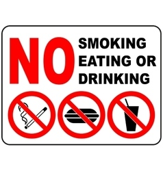 Prohibition Signs for Smoking Eating and Drinking vector image