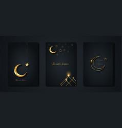 Ramadan kareem 2021 set gold greeting cards vector