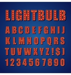 Retro Lightbulb Alphabet Font Type letters vector image