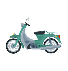 Retro scooter motor bike vehicle side view flat vector