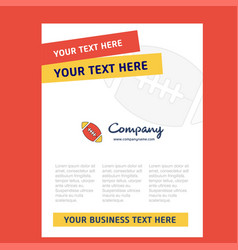 rugby ball title page design for company profile vector image