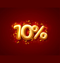 sale 10 off ballon number on red background vector image