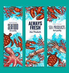 Seafood restaurant sea food banners set vector