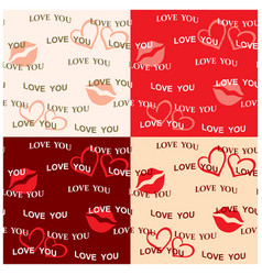 seamless patterns valentine day - kiss and hearts vector image