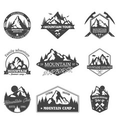 set isolated rocky mountain peaks or hills vector image