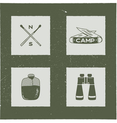 set of 4 camping silhouette icons and symbols vector image