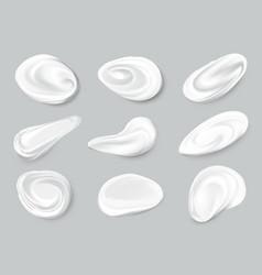 Set realistic cosmetic cream smears white vector