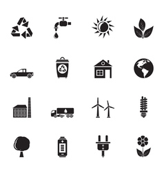 Silhouette ecology and environment icons vector image