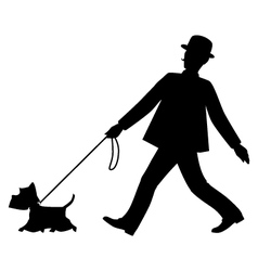 Silhouettes gentleman and his dog are walking vector