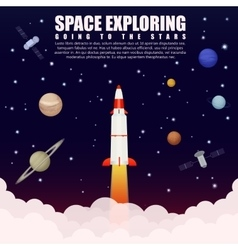 Space rocket launch exploring and research with vector