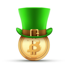 st patrick hat with bitcoin gold coin vector image