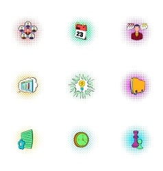 Time management icons set pop-art style vector image
