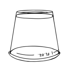 Transparent plastic measuring cup to measuring vector