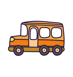 transport school bus cartoon on white background vector image