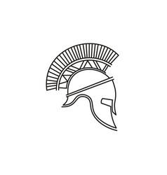 trendy line art spartan warrior helmet logo design vector image