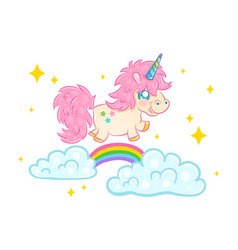 Unicorn on clouds with rainbow vector