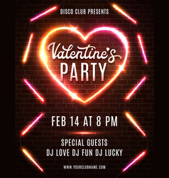 valentines day party design on dark red brick wall vector image
