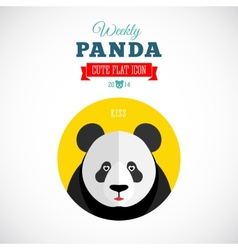 Weekly Panda Cute Flat Animal Icon Kiss vector image