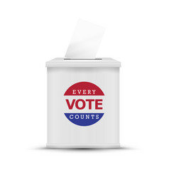 White ballot box isolated vector