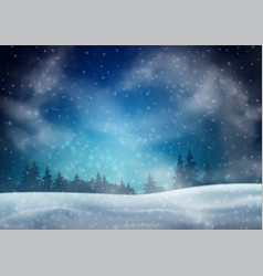 Winter night landscape vector