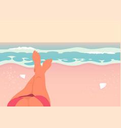 woman legs on beach vector image