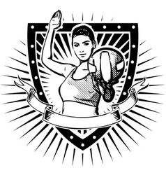 woman volley shield vector image