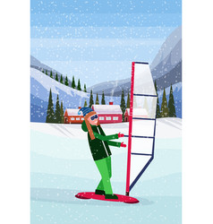 Woman windboarding windsurfing on snow over small vector