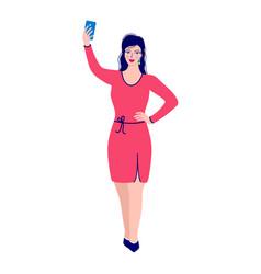 womantakes selfie photo vector image