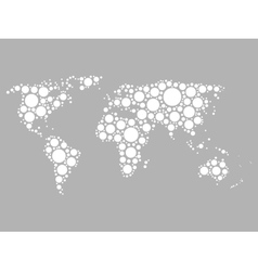 World map mosaic of white dots vector image